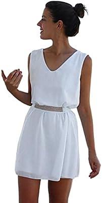 vestidos de mujer,Switchali Mujer verano elegantes Casual gasa casual sin mangas vestido de fiesta playa cinturón Mini vestido de corto moda linda ropa de mujer blanco barato