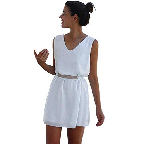 vestidos de mujer,Switchali Mujer verano elegantes Casual gasa casual sin mangas vestido de fiesta playa cinturón Mini vestido de corto moda linda ropa de mujer blanco barato (Asiático Tamaño:L)