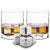 Esclusivo Whisky Stones Set di Regalo in Acciaio Inox - Cubetti di Ghiaccio per il Whiskey Riutilizzabili - Set di Pietre da Whisky - Cubetti Refrigeranti con Sottobicchieri + Pinze by Amerigo