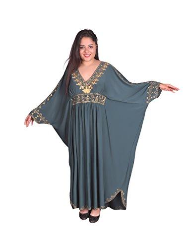 Damen Kaftan im Oriental Style, Einheitsgröße: M bis 3XL (40-58), (Petrol/Gold) (Bilder Von Verschiedenen Traditionellen Kostüm)