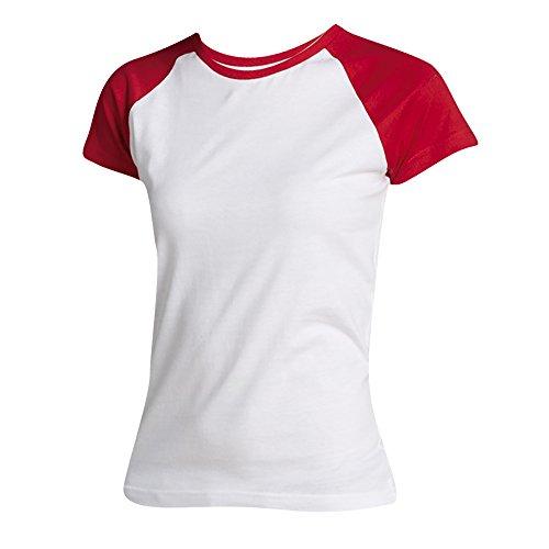 SOLS Milky - T-shirt à manches courtes en contraste - Femme Blanc/Rouge