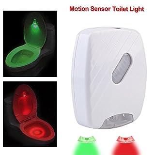 aigumi WC-Nachtlicht LED Bewegungsmelder aktiviert WC Licht Auto Sensor mit Rot Grün Licht energiesparend Badezimmer Nachtlicht batteriebetrieben einfach zu positionieren