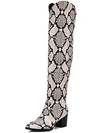 SHOWHOW Damen Lack Überknie Hoch Schenklhoch Langschaft Stiefel Mit Absatz Schlangen-Muster 36 EU XXtxwApCA