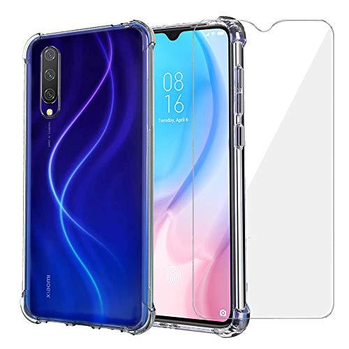 Annhao Funda Xiaomi Mi 9 Lite + Vidrio Templado, Carcasa Silicona Transparente Protector TPU Airbag Anti arañazos Reforzar Esquinas Case Protectora para Xiaomi Mi 9 Lite