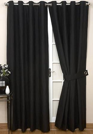 Rectella 90 X 54-Inch Jazz Eyelet Curtains, Black: Amazon.co.uk ...