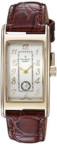 Peugeot Men's 'Vintage Contour' Quartz Metal and Leather Casual Watch, Color:Brown (Model: 2039G)