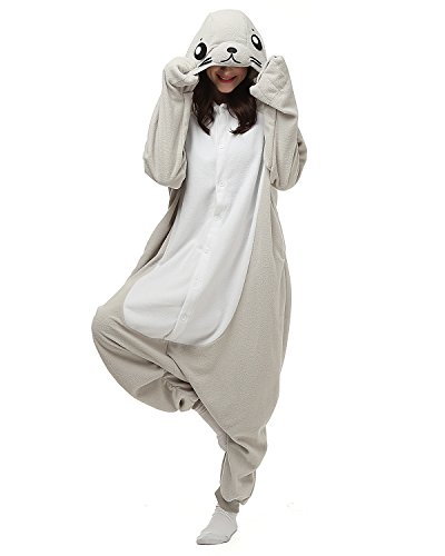 Tier Onesie Kostüme Kigurumi Robbe Pyjama Schlafanzug Erwachsene Unisex Mann Dame Cosplay Jumpsuit Onesie S
