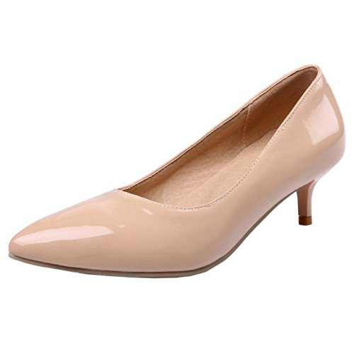 TAOFFEN Damen Fashion Niedrige Kitten Heels Pumps Ladies Basic Office Dress Schuhe Aprikose