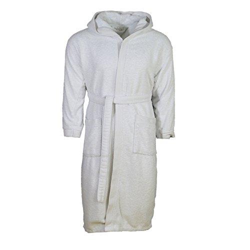 Julie Julsen morbido accappatoio per uomo e donna nelle taglie S-XXXL e colori moda-Sauna cappotto vestaglia cotone cappuccio, 100%  cotone, bianco, XXXL