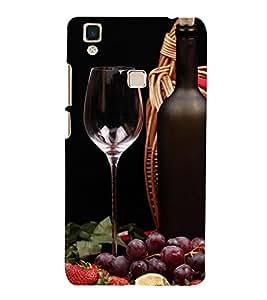 printtech Wine Grape Bottle Back Case Cover for vivo V3Max