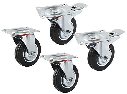 4 Lenkrollen und Möbelrollen Profi Stahl & Gummi große Tragkraft 2 mit Bremse und zwei Libellen 120mm 100mm 70mm, Grau