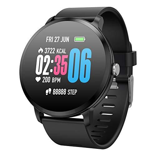 Reloj Inteligente Hombre Mujer, Qimaoo Smartwatch IP67 Impermeable Smart Watch con Pulsómetro, Monitor de presión arterial, Múltiples Modos de Deportes, GPS Podómetro, Fitness Tracker para iOS Android