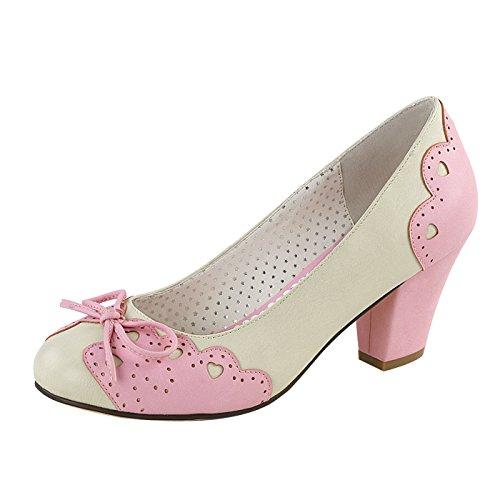 Pin up Couture Pumps Cuben Heel Cremefarben/Pink Aus veganen Leder WIGGLE-17 Pink, EU 38