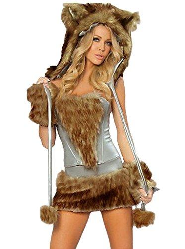 COMVIP Donna Animal Costume sexy di Halloween del lupo peloso Gatto Cosplay Free Dimensioni: Busto 90cm Vita 72-74cm Marrone