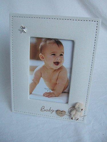 """Preisvergleich Produktbild """"Baby"""" Fotorahmen mit 3D-Teddybär-Applikation beige / naturfarben für Fotos à 15,2x 10,2cm (15x 10cm) Fotorahmen"""