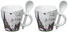Idea Regalo - Foxtrot AIME 9071 Set di 2 tazze Motif Spoon Paris Ti amo porcellana 6,7 centimetri