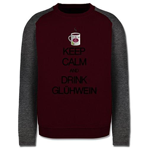 Keep calm - Keep calm and drink Glühwein - Herren Baseball Pullover Burgundrot/Dunkelgrau meliert