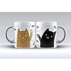Pack 2 tazas ilustración gatos decorada desayuno regalo original pareja
