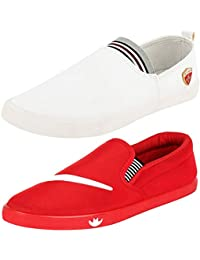 Ethics Perfect Combo Pack of 2 Red & White Stylish Casual Loafers Shoes for Men
