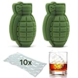 granata a forma di cubetto di ghiaccio 3D – whisky cocktail Ice Ball Tray Maker, regalo perfetto per uomini, appassionati di militari, bar, party – 2 pezzi + bonus 10 Ice Cube Bags