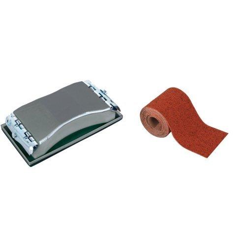 Wolfcraft 2891000 - Bloque de lijar manual 85 x 160 mm + 3174000 - Rollo papel abrasivo, grano 120, 5 m x 93