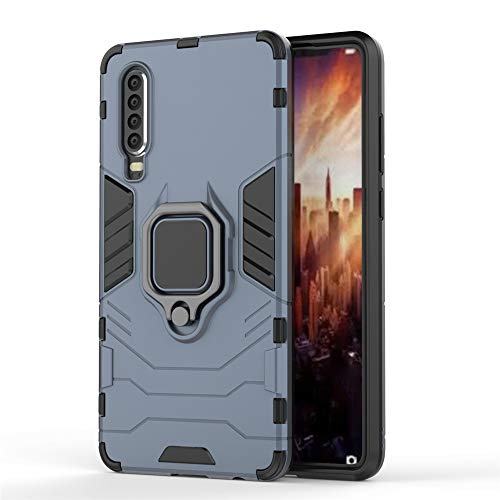 Huawei P30 Hülle, CHcase Hybrid 2in1 TPU+PC Schutzhülle Rugged Armor with Magnetic Car Mount Case Cover Dual Layer Bumper Backcover mit Ständer für Huawei P30 -Black Plus Gray Gray-mount