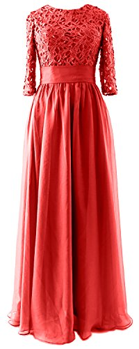 MACloth Vintage Half Sleeves Mother of Bride Dress Lace Formal Evening Gown red
