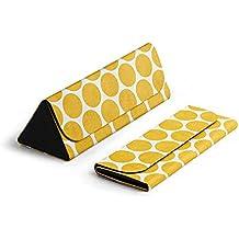DailyObjects Foldable PU Leather Designer Printed Slim Eyewear/Sunglass Hard shell Case - Yellow Polka Dots (Color - Multicolor)