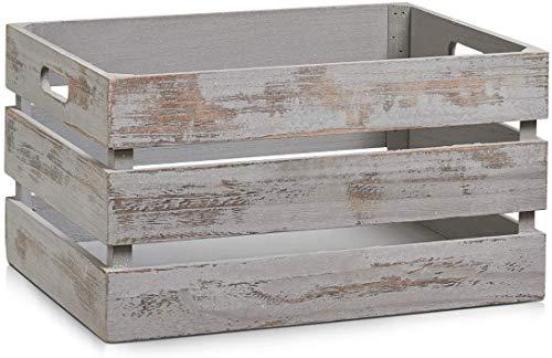 Zeller 15138 Aufbewahrungs-Kiste, Holz, vintage grau, 39 x 29 x 21 cm