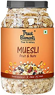 True Elements Muesli Fruit and Nuts 1 kg - Whole Grain Cereal for Breakfast