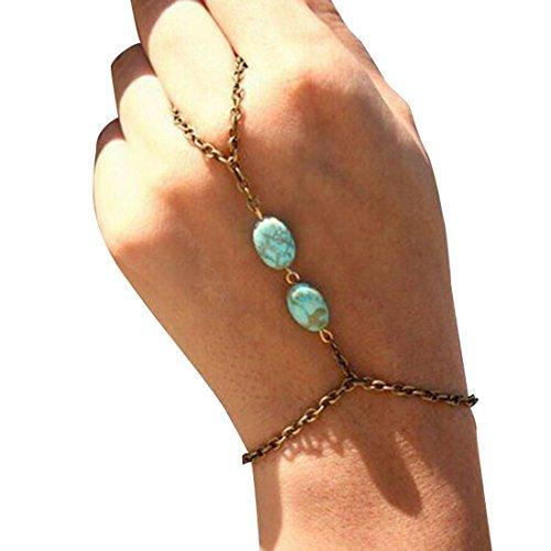 Sannysis Fashion Retro- Bronzetürkis -Armband Fingerring-Armband-Slave-Kette (Slave-armbänder)