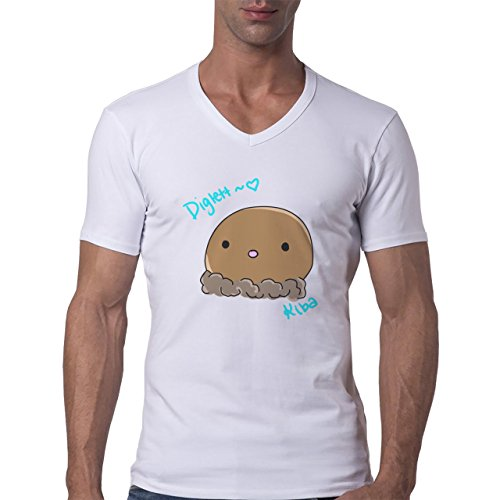 Pokemon Diglett Brown Ground Simple Herren V-Neck T-Shirt Weiß