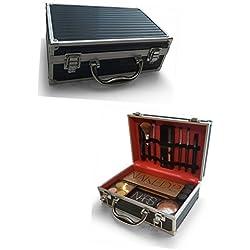 Oi LabelsTM Negro/Cromo Almacenamiento Make Up organizador de cosméticos portátil maletín