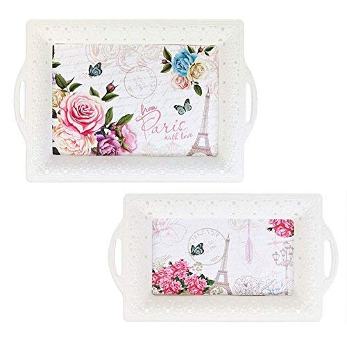 YoL Pack of 2 White Paris Chic Design Serving Trays Carrying Drinks Food Tea Party 2 Sizes