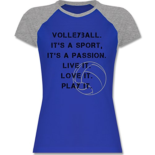 Shirtracer Volleyball - Volleyball Statement - Zweifarbiges Baseballshirt/Raglan T-Shirt für Damen Royalblau/Grau meliert