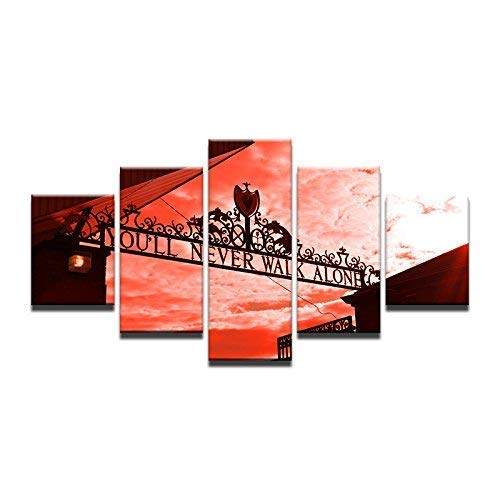 Printed Posters Home Decor Framework 5 Pieces You Will Never Walk Alone Paintings for Living Room Wall Art Pictures ()