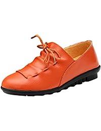 Scarpe da barca, da donna, in pelle, comode, misure 35,5-43, arancione (Orange), 4-6 Mesi