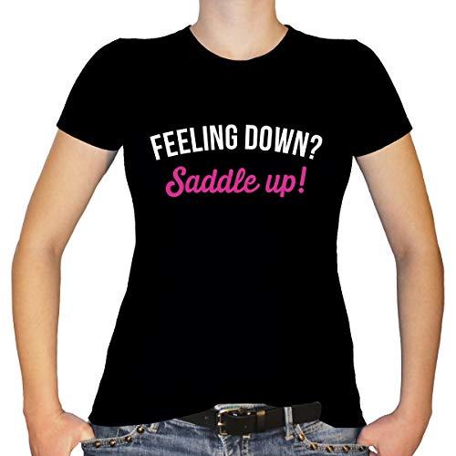Shirtfun24 Damen Pferde Spruch Reiter Feeling down Saddle up T-Shirt, Schwarz, L