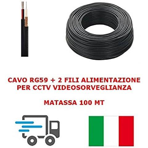 MATASSA CAVO VIDEO COASSIALE RG59 + 2 FILI ALIMENTAZIONE 100MT