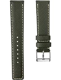 Correa del reloj Geckota D-1 cuero genuino Estilo Aviador Ejército Verde 20mm