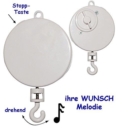 alles-meine.de GmbH Spieluhr / Spielwerk -  Wolfgang Amadeus Mozart - Wiegenlied - Lullaby  - z.B. Mobile & Traumfänger - drehend & zum Aufhängen - Musikbox - aus Kunststoff - .. (B Mobile)