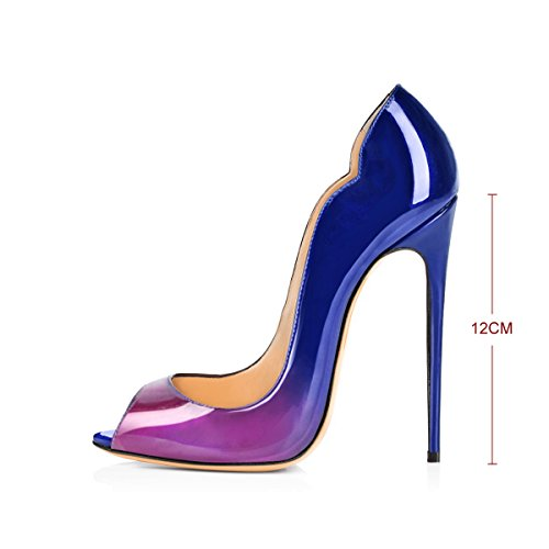 Damen Fashion Open Toe Freie Toe Slip-on Pumps Hohe Absatz Extreme Stiletto Komfort Schwarz Lady Schuhe Lila Und Blau