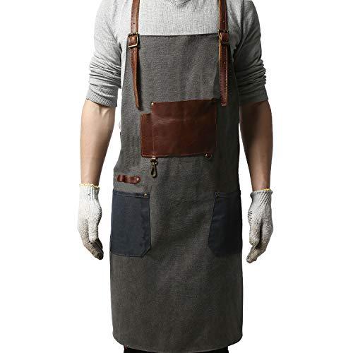 Bäcker Mann Kostüm - G-FAVOR Schürze Herren Damen, Werkzeugschürze Unisex-Hochleistungs Arbeitsschürze mit Taschen für Küchengarten-Töpferhandwerk-Werkstattgarage (grau)