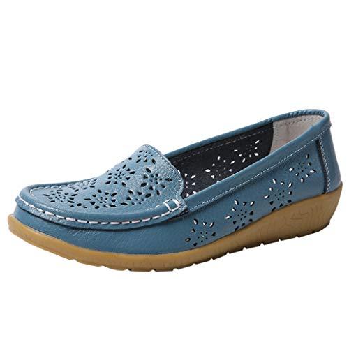 COZOCO Damen Volltonfarbe Hohle Schuhe rutschfeste Flache Schuhe Low-top Slip on Schuhe Outdoor Freizeitschuhe(Blau,37 EU)