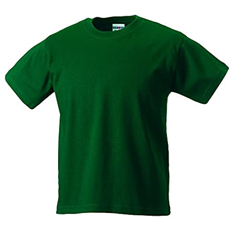 Kids heavy T shirt bottle green age 9-10