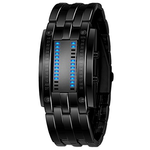 binary Armbanduhr, Luxus Edelstahl LED Digital Armband Sport vergoldet Armbanduhr für Herren