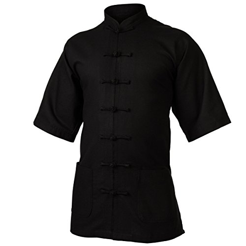 wu designs Leinen (mittel) Tai Chi Oberteil Stehkragen Kurzarm - Taiji Shirt - Tai Chi Anzug - Kung Fu - Wushu - schwarz - 175