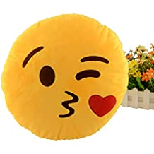 Miryo-Cojín con diseño de emoji Emoticonos Emoticones beso suave y cómodo decoración Sofá juguete