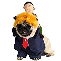 Aramomo Funny President Trump Pet Costume Set of 3 with Wig Suit Doll Halloween Party Outfit Costume for Dogs Cats,S