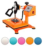 RICOO Power Zwerg-GS Transferpresse Textilpresse Textildruckpresse Schwenkbar Thermopresse Transferdruck Bügelpresse Textil T-Shirtpresse Sublimationspresse für Flexfolie und Flockfolie | Orange
